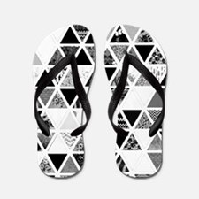Monochrome Abstract Floral Triangles Pa Flip Flops
