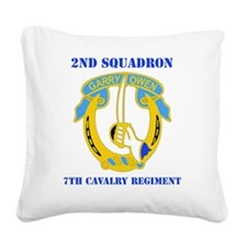 2-7 CAV RGT WITH TEXT Square Canvas Pillow