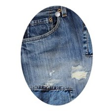 443_iphone_denim Oval Ornament