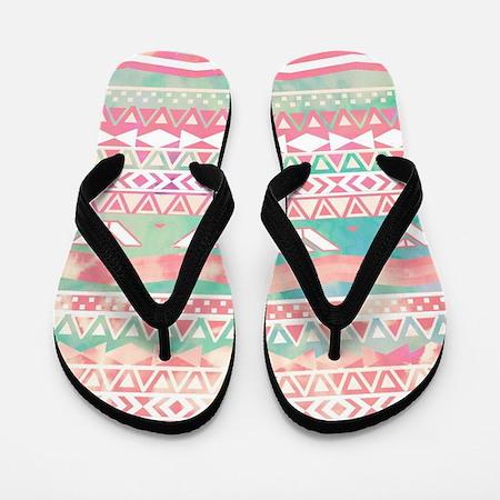 Girly Aztec Pattern Pink Turquoise Wate Flip Flops