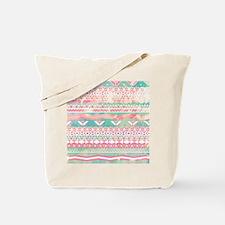 Girly Aztec Pattern Pink Turquoise Waterc Tote Bag