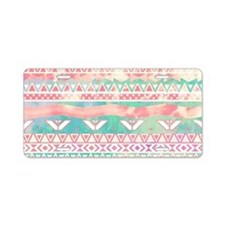 Girly Aztec Pattern Pink Tu Aluminum License Plate