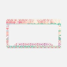 Girly Aztec Pattern Pink Turq License Plate Holder