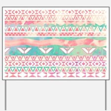 Girly Aztec Pattern Pink Turquoise Water Yard Sign
