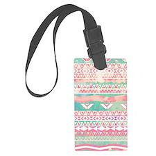 Girly Aztec Pattern Pink Turquoi Luggage Tag