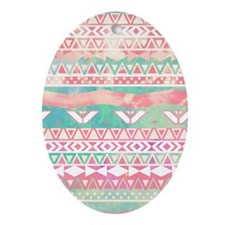 Girly Aztec Pattern Pink Turquoise W Oval Ornament