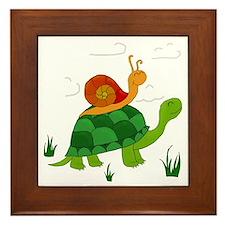turtle and snail Framed Tile