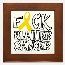 Fuck-Bladder-Cancer-blk Framed Tile