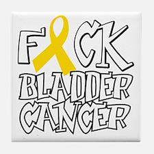 Fuck-Bladder-Cancer-blk Tile Coaster