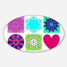 snow flakes coloured Sticker (Oval)