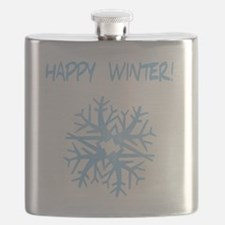 happy winter snow flake blue Flask