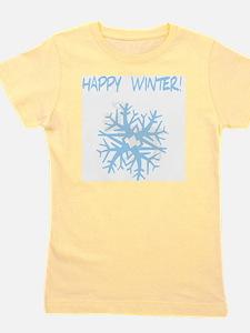 happy winter snow flake blue Girl's Tee