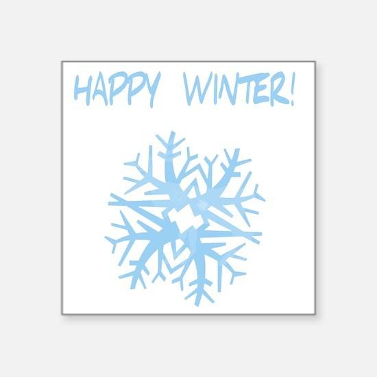 "happy winter snow flake blu Square Sticker 3"" x 3"""