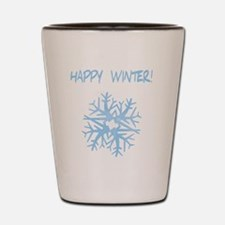 happy winter snow flake blue Shot Glass