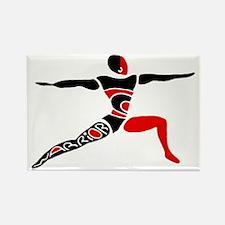 Red Warrior Asana Rectangle Magnet