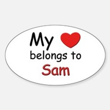 My heart belongs to sam Oval Decal