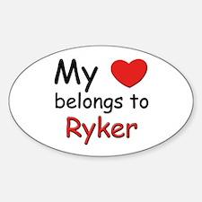My heart belongs to ryker Oval Decal