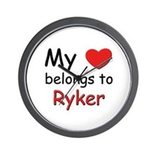 My heart belongs to ryker Wall Clock