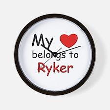 My heart belongs to ryker Wall Clock