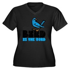 Word Bird Women's Plus Size Dark V-Neck T-Shirt