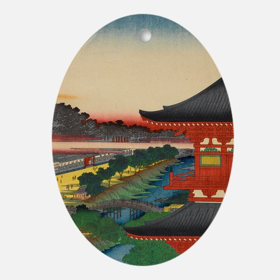 One-Hundred-Famous-Views-of-Edo-Art- Oval Ornament
