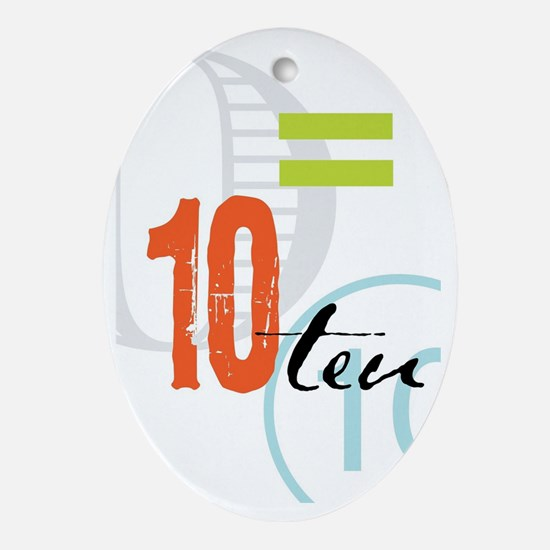 Anniversary Card: 10 Years Oval Ornament