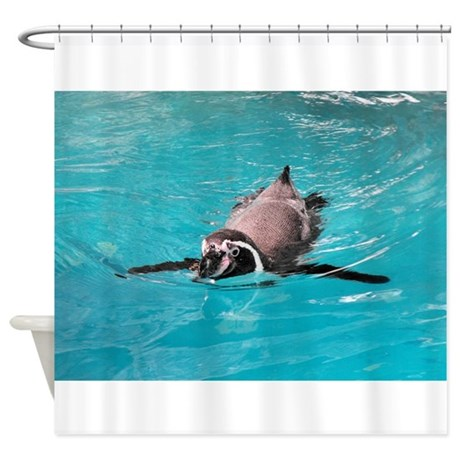 Swimming penguin shower curtain by otterblossom Swimming pool shower curtain