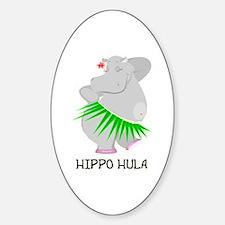 Hippo Hula Oval Decal