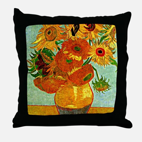 Van Gogh - Still Life Vase with Twelv Throw Pillow