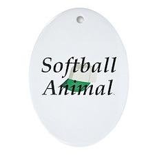 TOP Softball Animal Oval Ornament