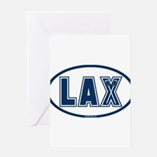 Lacrosse Oval LAX Blue Greeting Cards