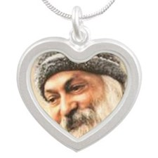 OSHO OVAl  2 Silver Heart Necklace