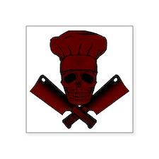 """Chef_Skull_dkred Square Sticker 3"""" x 3"""""""