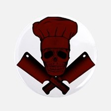 "Chef_Skull_dkred 3.5"" Button"