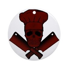 Chef_Skull_dkred Round Ornament