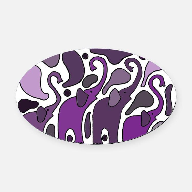 Purple Elephants Art Abstract Oval Car Magnet