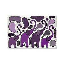 Purple Elephants Art Abstract Rectangle Magnet