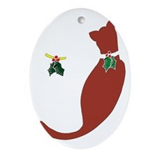 Holiday-Cats Oval Ornament