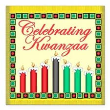 "Kwanzaa Square Car Magnet 3"" x 3"""