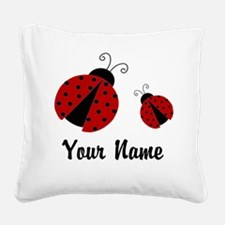 Ladybugs Red Personalized Square Canvas Pillow