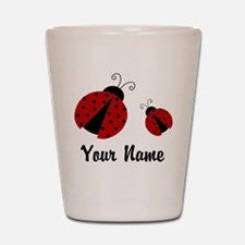 Ladybugs Red Personalized Shot Glass
