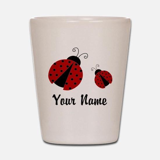 Ladybugs Red Personalized Shot Gl