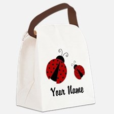Ladybugs Red Personalized Canvas Lunch Bag