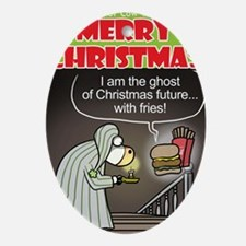 Christmas Ghost Oval Ornament