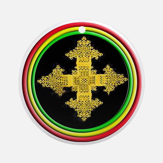 ethipia cross rasta performance jac Round Ornament