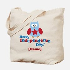 Personalized Happy Independence Day Owl Tote Bag