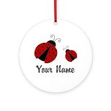 Ladybug Round Ornaments