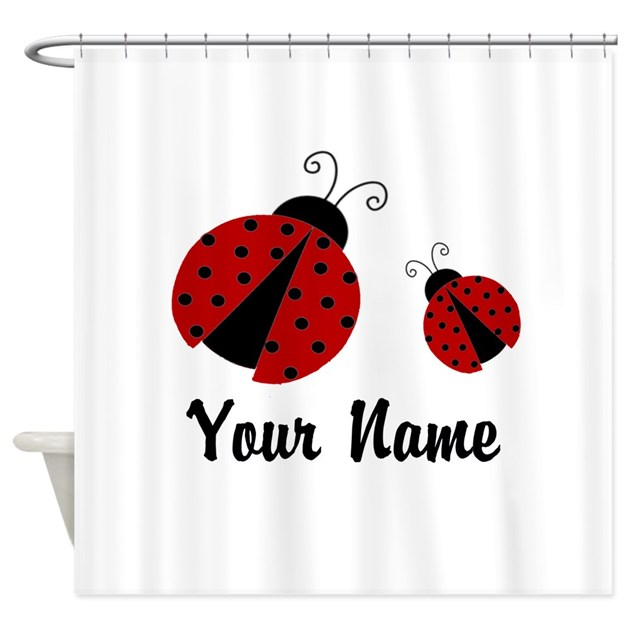 Ladybugs Red Personalized Shower Curtain By