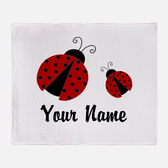 Ladybugs Red Personalized Throw Blanket
