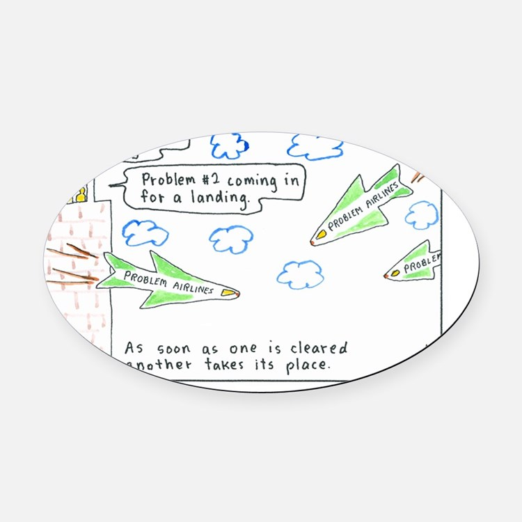 6-Problems10x10-Text1 Oval Car Magnet